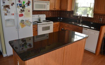 Uba Tuba Granite upgrade on Oak Cabinets