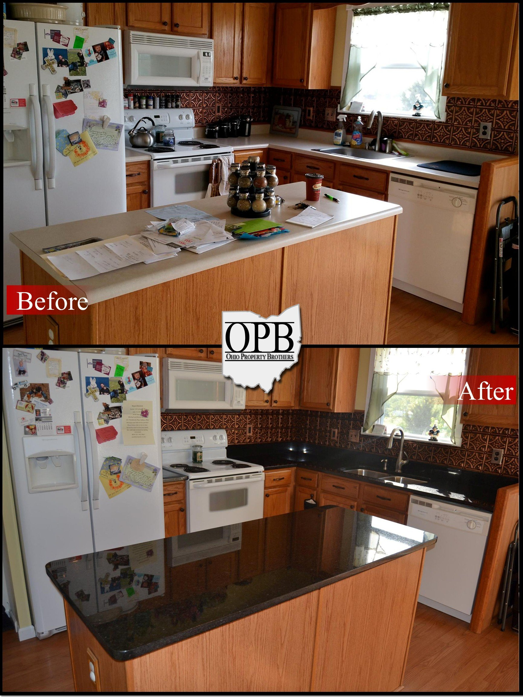Uba Tuba Granite Kitchen Uba Tuba Granite Upgrade On Oak Cabinets Ohio Property Brothers